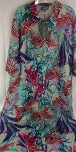 Selection/ Ulla Popken Ferns & Flowers Shirt Dress